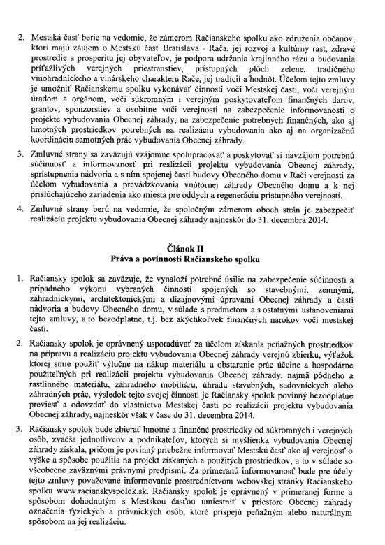 Zmluva o spolupráci na projekte Obecná záhrada 2