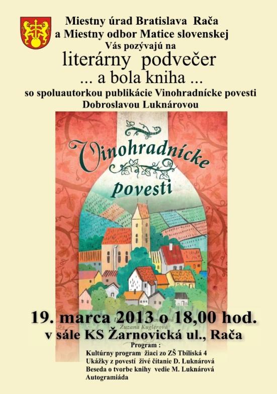 Rača organizuje literárny podvečer s Dobroslavou Luknárovou.