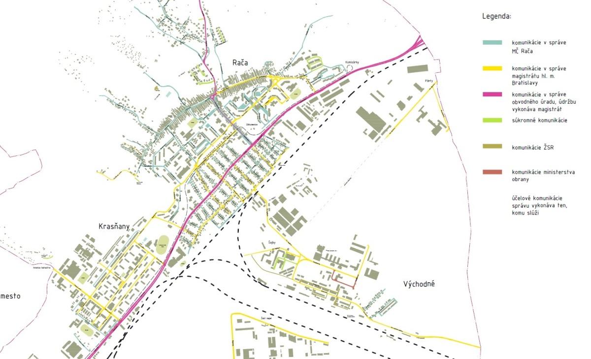 Cesty v Rači: Mapa komunikácií v obci a ich správcovia (+mapa)