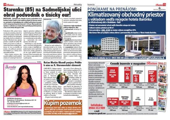 Spravodajstvo + Inzercia.