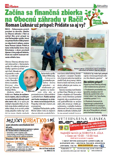 Račiansky spolok začína zbierku na Obecnú záhradu v Rači, ako prvý prispel herec Roman Luknár.