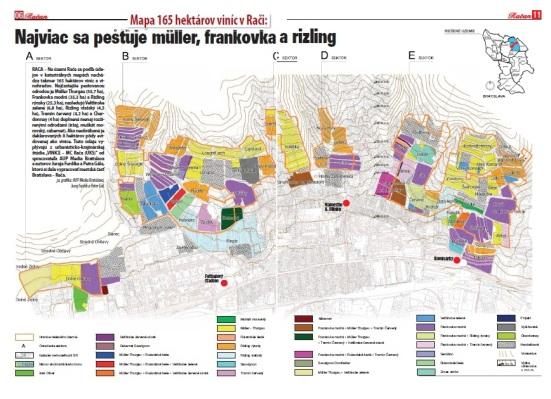 Mapa viníc s histoprickými názvami a rozložením pestovaných odrôd.
