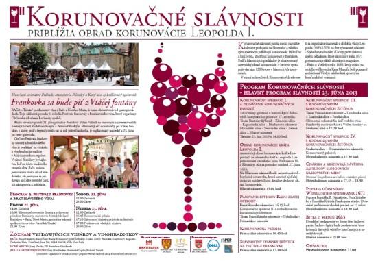 Program Festivalu frankovky a Korunovačných slávností.