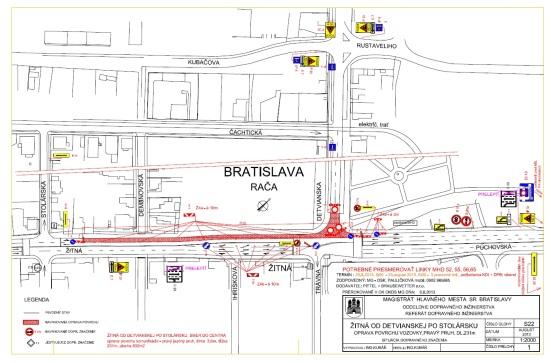 Žitná ulica vpravom jazdnom pruhu v smere do mesta od križovatky s Detvianskou (vrátane celého priestoru križovatky aj s priechodom pre chodcov) po križovatku so Stolárskou ulicou