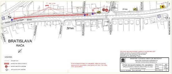 Žitná ulica v pravom jazdnom pruhu v smere do mesta od križovatky s Bukovinskou ulicou po Žitnú č. 18 (obidva úseky v smere do mesta majú dĺžku dohromady 1934m2 a cena ich opravy je vyčíslená na 117 974 EUR)