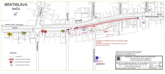 Žitná ulica v pravom jazdnom pruhu v smere von z mesta od č. 42 po č. 58 (744m2, 45 384 EUR)