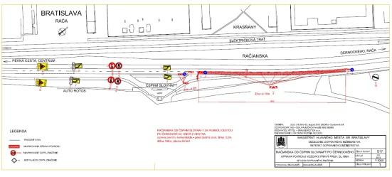 Račianska ulica od predajne Auto Rotos v pravom jazdnom pruhu v smere von z mesta (dĺžka opravovaného úseku bude 734m2, cena 44 774 EUR)
