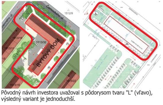 Bytový dom na Černockého: Pôvodný zámer investora vs. odsúhlasný návrh. Zdroj: Račiansky výber