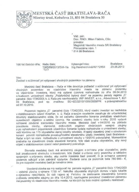 List mestskej časti magistrátu so žiadosťou o zámenu pozemkov z 23. mája 2013.