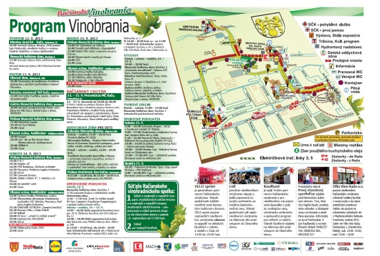 Vinobranie 2013: Mapa a program