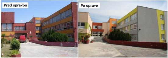 Základná škola Tbiliská pred a po oprave fasády.