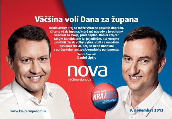 Róbert Pajdlhauser je na na kandidátke strany Nová väčšina – Dohoda (D. Lipšic), ktorá postavila ako kandidáta na župana Daniela Krajcera.