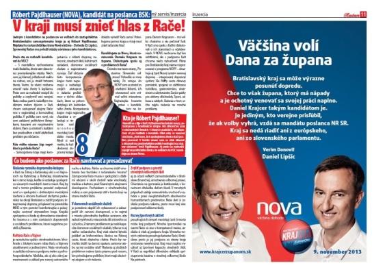 Spravodaj Račan, 04/2013: Predstavenie kandidáta na poslanca BSK Róberta Pajdlhausera a prezentácia Daniela Krajcera.