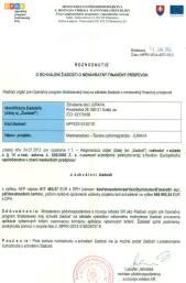 Dokument o schválení dotácie pre Združenie JuRaVa