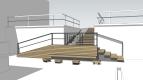 Projekt štúdia Ateliér van jarina rozdeľuje hlavné rameno schodiska podestou, pričom si realizácia nevyžaduje búranie pôvodného schodiska.