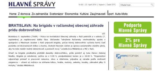 Médiá: Obecná záhrada Rača (hlavnespravy.sk, 09/2013)