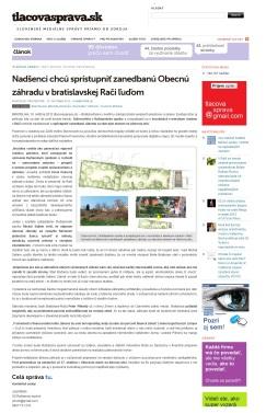 Médiá: Obecná záhrada Rača (tlacovasprava.sk, 10/2012)