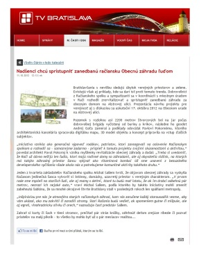Médiá: Obecná záhrada Rača (TVBA.sk, 10/2012)