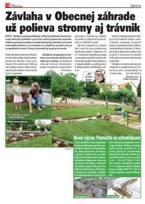 Obecná záhrada Rača monitor, spravodaj Račan