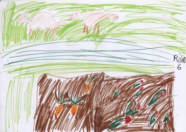 Tuto popustil Riško uzdu fantázii a v záhrade videl aj neexistujúcu mrkvu a pridal pasúcich sa psíkov :-)