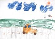 Riško má ako každý chalan rád autá a zadanie kresliť záhradu s prehľadom ignoroval :-)