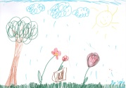 Soňa zvolila kompozične vďačný motív orechu, kvetov a vedierka.