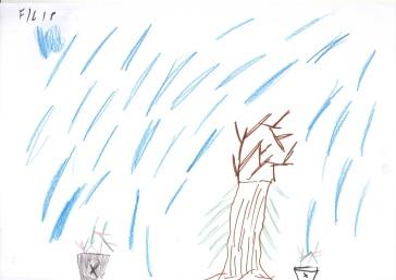 Filip nakreslil klasický detský strom a mohutný dážď!