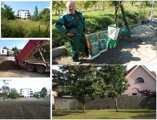 Revitalizácia Obecnej záhrady: Úprava terénu, inštalácia závlahy, výsadba a výsev trávy v hornej časti záhrady